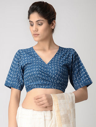 Blue-Ivory Tie-up Cotton Ikat Blouse by Jaypore