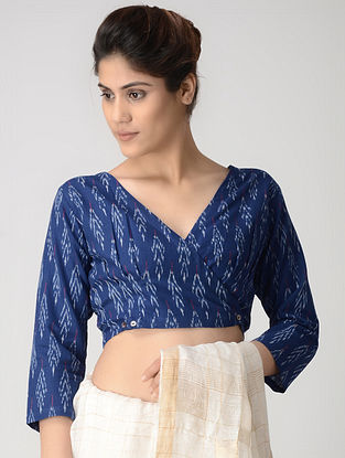Blue-Ivory Cotton Ikat Blouse with Buttons by Jaypore