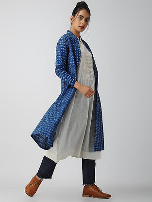 Blue-Ivory Front-open Cotton Ikat Kurta by Jaypore