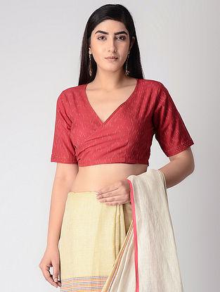 Red Cotton Ikat Tie-up Wrap Blouse