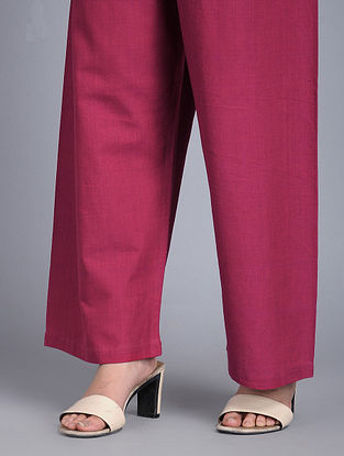 Pink Elasticated-waist Handloom Cotton Pants