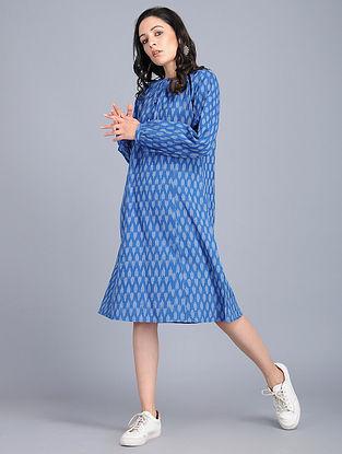 Blue Handloom Cotton Ikat Dress