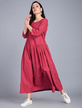 Red Handloom Cotton Ikat Dress