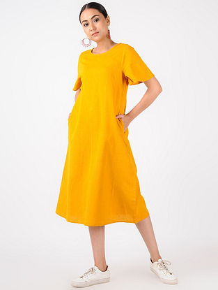 Yellow Handloom Cotton Dress with Pockets