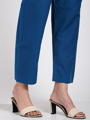 Blue Tie-up Waist Cotton Pants