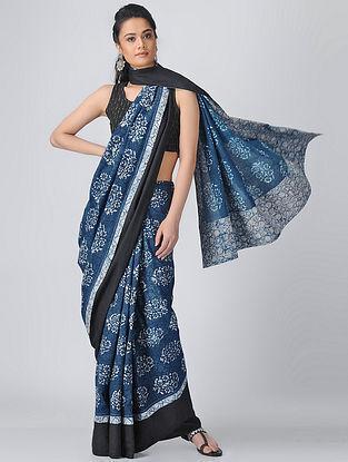 Indigo-Ivory Dabu Cotton Constructed Saree by Jaypore