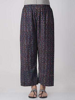Indigo-Madder Elasticated-waist Dabu Cotton Palazzos
