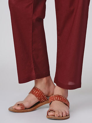 Maroon Tie-up Waist Cotton Pants by Jaypore