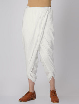 White Elasticated-waist Cotton Dhoti Pants by Jaypore