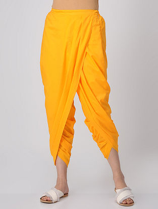 Yellow Elasticated-waist Cotton Dhoti Pants by Jaypore