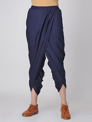Blue Elasticated-waist Cotton Dhoti Pants by Jaypore