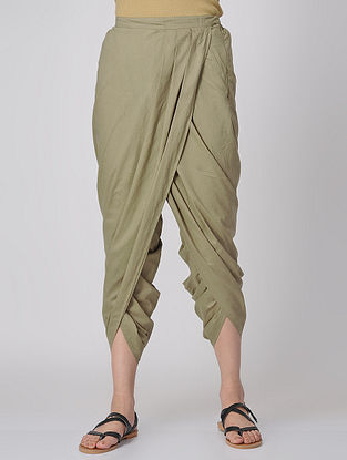 Green Elasticated-waist Cotton Dhoti Pants by Jaypore