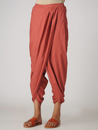 Rust Elasticated-waist Cotton Dhoti Pants by Jaypore