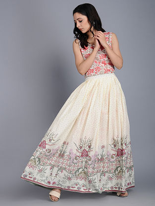 Ivory-Green Printed Cotton Skirt with Zipper Closure