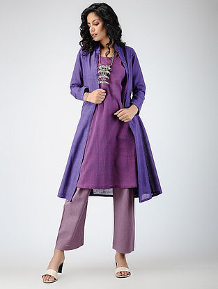 Purple Handloom Cotton Jacket with Dress (Set of 2)
