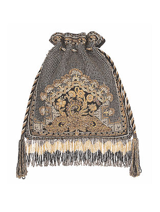 Black Hand Embroidered Silk Potli
