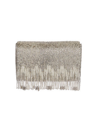 Silver Handcrafted Beaded Satin Clutch