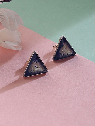 Blue Silver Stud Earrings with Silver Dust Inlay