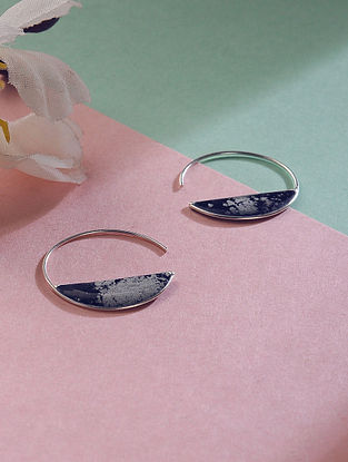 Blue Silver Hoop Earrings with Silver Dust Inlay
