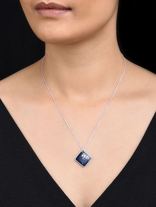 Blue Silver Pendant with Silver Dust Inlay