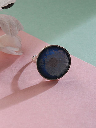 Blue Adjustable Silver Ring with Silver Dust Inlay