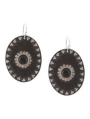 Black Wood and Silver Earrings