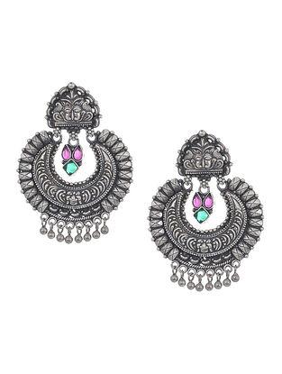 Pink-Green Tribal Silver Earrings