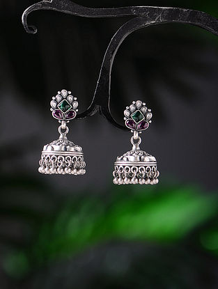 Pink-Green Tribal Silver Jhumkis