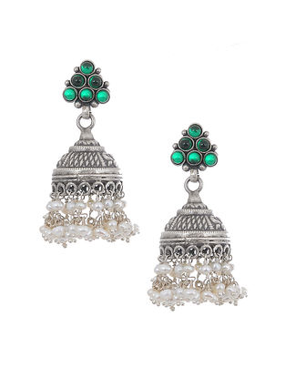Green Tribal Silver Jhumkis with Pearls