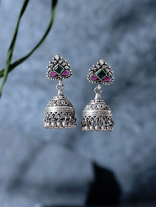Green-Pink Tribal Silver Jhumkis