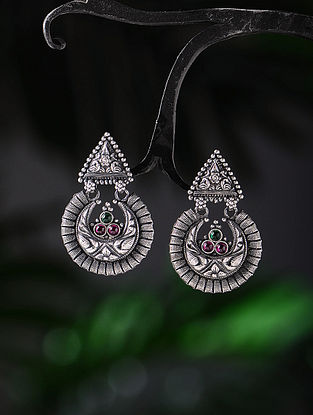 Pink-Green Tribal Silver Earrings