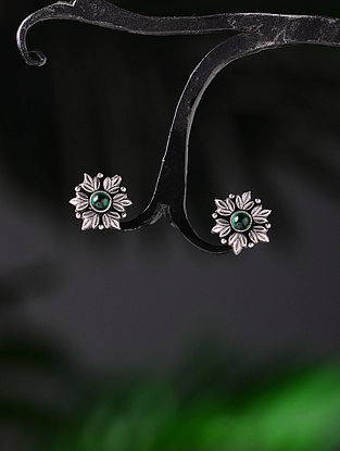Green Tribal Silver Earrings