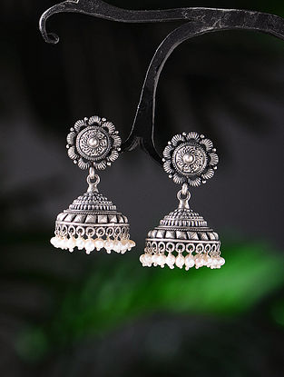 Pearl Tribal Silver Jhumkis