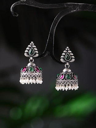 Green-Pink Tribal Silver Jhumkis with Pearls