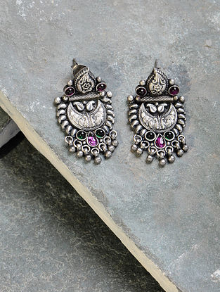 Green-Pink Tribal Silver Earrings