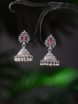 Pink Tribal Silver Jhumkis