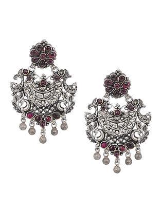 Pink Tribal Silver Earrings