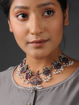 Pink-Green Tribal Silver Necklace with Pearls