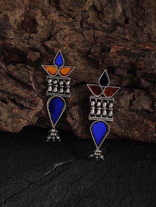 Orange-Blue Glass Silver Earrings