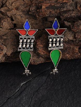 Multicolored Glass Silver Earrings