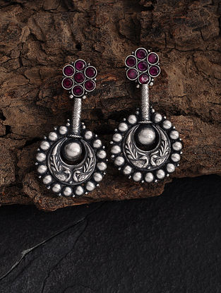 Pink Silver Earrings with Peacock Motif