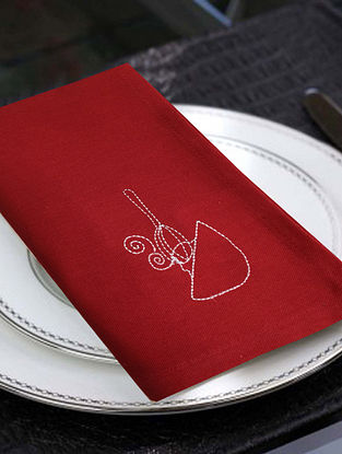 Red Cotton Table Napkins (Set of 6) (16in x 16in)