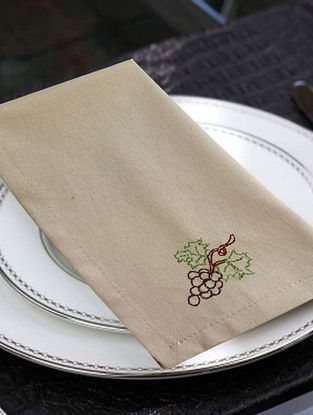 Beige Cotton Table Napkins (Set of 6) (16in x 16in)