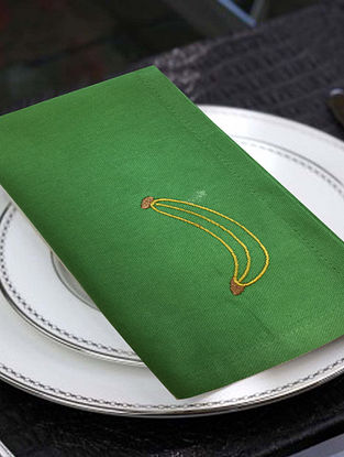 Green Cotton Table Napkins (Set of 6) (16in x 16in)