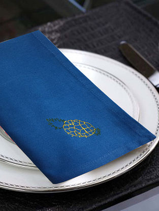 Blue Cotton Table Napkins (Set of 6) (16in x 16in)