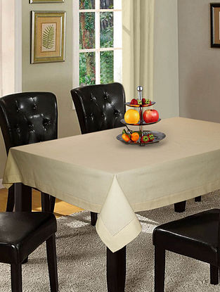 Beige Cotton Hole Stitched 6-Seater Table Cover (90in x 60in)