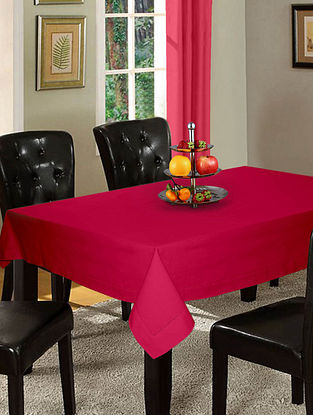 Pink Cotton Hole Stitched 6-Seater Table Cover (90in x 60in)