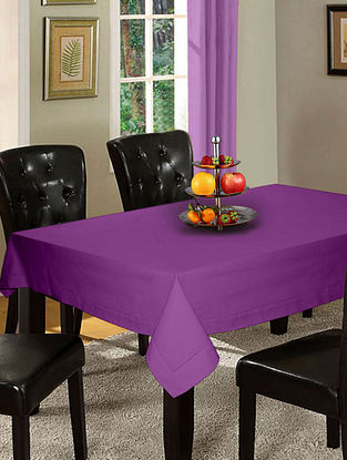 Purple Cotton Hole Stitched 6-Seater Table Cover (90in x 60in)