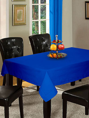 Blue Cotton Hole Stitched 6-Seater Table Cover (90in x 60in)