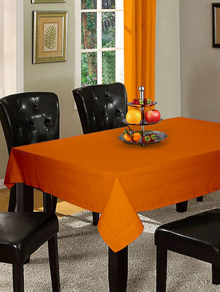 Orange Cotton Hole Stitched 6-Seater Table Cover (90in x 60in)